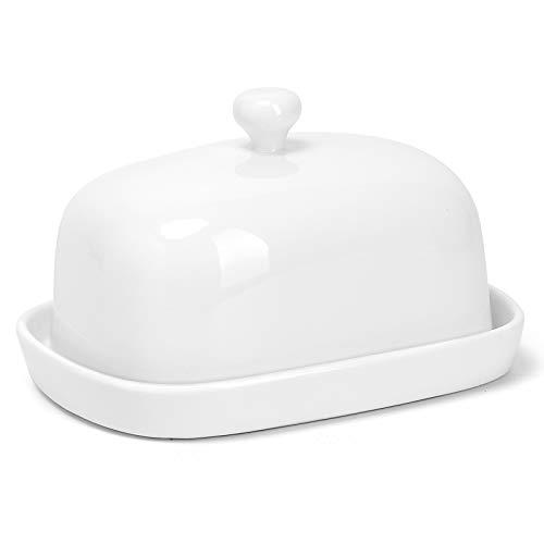 Sweese 311.101 Butterdose Porzellan, Klassische Butterschale für 250 g Butter, Groß, Weiß