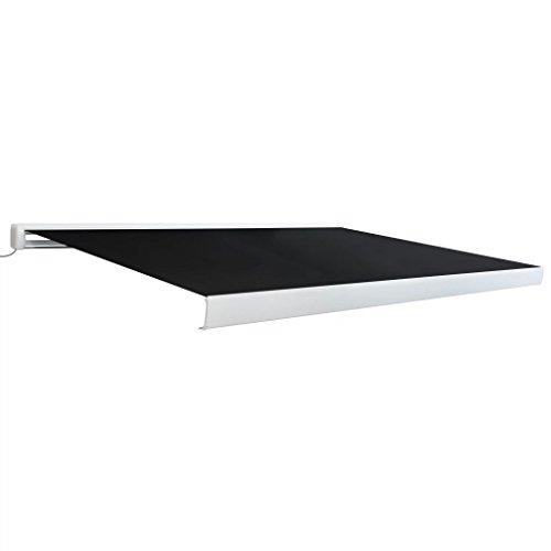 Tidyard- Toldo Lateral de Carrete Manual para Balcón y Terraza 400 cm Gris Antracita