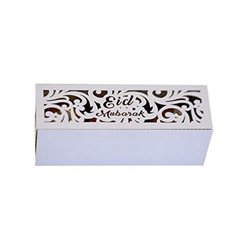 Kioski 50 STKS Eid Candy Box Bright Golden Modieuze Chocolade Container Voor Ramadan Festival Nieuwe Ramadan Festival Hollow Candy Box Midden-Oosten Eid Mubarak