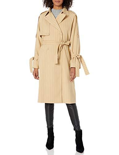 Armani Exchange AX Damen Pinstriped Notched Collar Trench Coat Trenchcoat, Toffee mit Blaubeer-Gelee Streifen, Medium