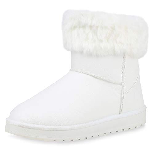 SCARPE VITA Damen Stiefeletten Schlupfstiefeletten Winter Boots Warm Gefütterte Kunstfell Schuhe Winterstiefel Profil 187479 Weiss 38