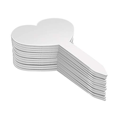 KINGLAKE 100 Stück Herzform Plastik Pflanzenschilder Wetterfest, Kunststoff Pflanzenstecker Weiß, Plastik Stecketiketten für Pflanzen