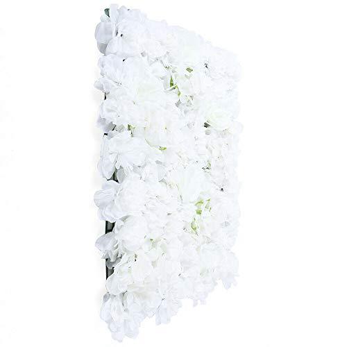 Futchoy 9 flores artificiales blancas para decoración de pared, pared de rosas, metope, flores para bodas, telón de fondo, para casa, fiesta, jardín, decoración de pared, 40 x 60 cm