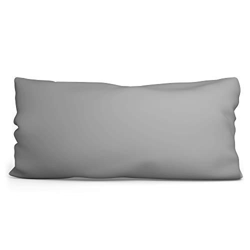 Seitenschläferkissen Bezug 40 x 145 cm - Kissenbezug für längliches Kissen aus Baumwolle mit Oeko-Tex Zertifikat Grau