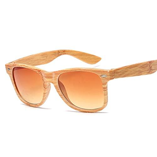 Hanpiyignstyj Gafas De Sol, Gafas de Sol con Marco de Madera de Gafas de solaritas pequeñas Retro pequeñas para Mujer y Hombres (Lenses Color : Original Grain)