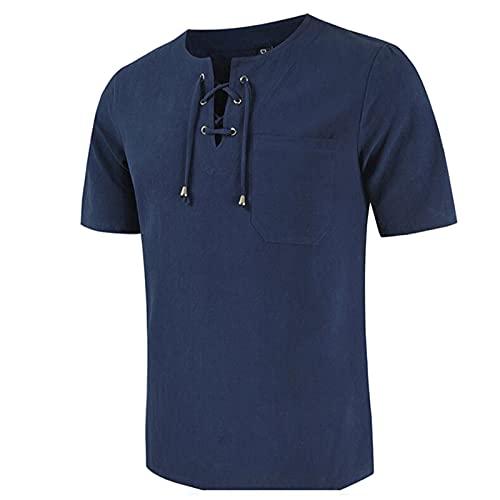 Camiseta de verano para hombre, manga corta, algodón y lino, corbata, blusa de manga corta marine L