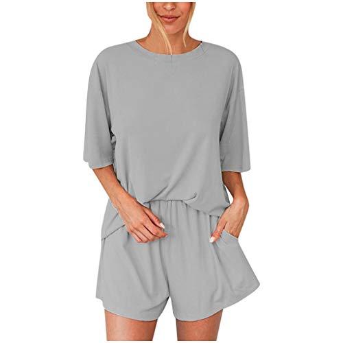 YBWZH Damen Kurzarm Salat Trim Top Shorts 2 Stück Outfits Pyjama Set Schlafanzug Übergrößen-Sommerpyjamas Für Frauen Passen Zu Hosen Mit Pyjamas passen zu Hause