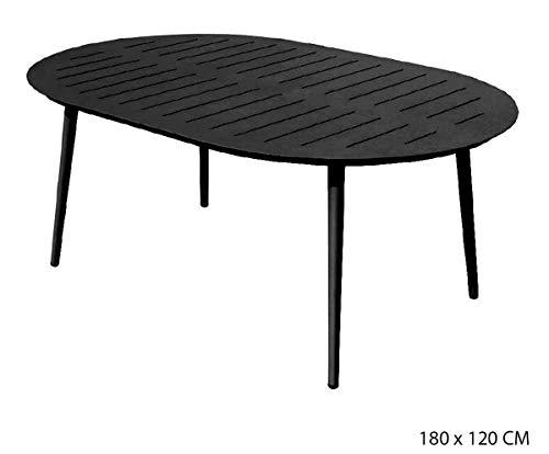 PEGANE Table Ovale en Aluminium Coloris Anthracite - 180 x 120 cm