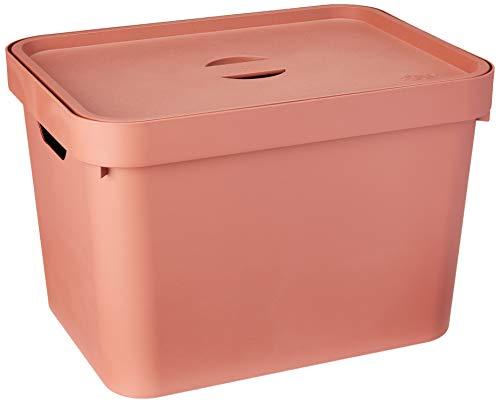 Caixa Organizadora Cube M 18L com Tampa, Ou, Terracota