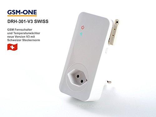 GSM Fernschalter und Temperaturwächter mit Schweizer Stecker, DRH-301-V4-SWISS