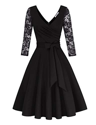 KOJOOIN Damen Spitzenkleid Vintage 50er V-Ausschnitt Abendkleid Rockabilly Retro Kleider Hepburn Stil Cocktailkleid Langarm Schwarz【EU 38-40】/M