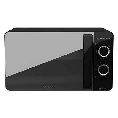 Cecotec Microondas Negro ProClean 3140 Mirror. 700 W con 6 Niveles, Grill 800W, 20L, Revestimiento Ready2Clean para mejor Limpieza, Tecnología 3DWave, Diseño Efecto Espejo y Detalles metálicos