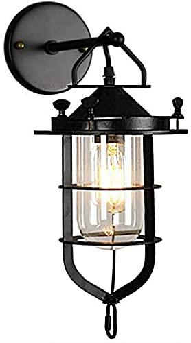 ASDF Aplique de Pared Industrial para Interiores, Aplique de Jaula de Metal, lámpara de Pared Negra Vintage con Pantalla de Vidrio E27 Apliques de Pared para Restaurante, Pasillo, hogar, salón