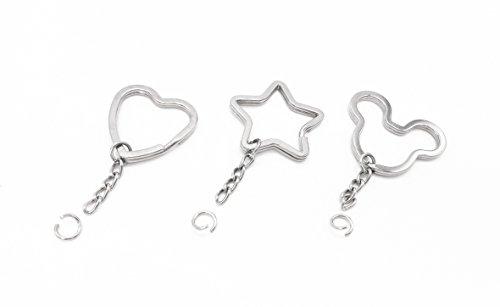 30 unidades - Llavero con cadena, piezas de llavero, 3 estilos: en forma de estrella, de oso y de corazones.
