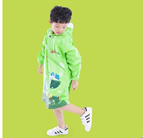 Imperméable pour Enfants Forme Animale Poncho Détachable Grand Chapeau Transparent Sangle Sac D'école Étudiant Poncho Britannique,1,L