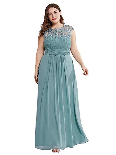Ever-Pretty Damen Abschlusskleid A-Linie Chiffon Spitze Rundkragen Kurze Ärmel Hohe Taille große Größe Dunkelblau 48
