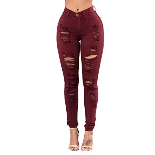 Mengmiao Elasticos Pitillos Vaqueros Mid Waist Rasgados Mezclilla Pantalones Rotos Agujero Jeans de Mujer (Rojo Vino, Asia M)