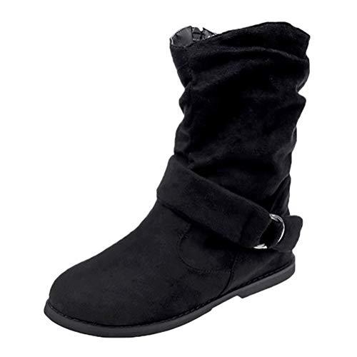 ORANDESIGNE Damen Kurzschaft Stiefel Winter Flach Absatz Schneestiefel Kurz Stiefeletten Schuhe Mädchen Winterstiefel Schlupfstiefel Schwarz 43 EU