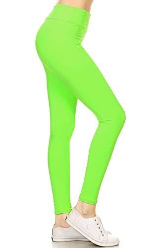 LYR128-NEONGREEN Yoga Solid Leggings, One Size