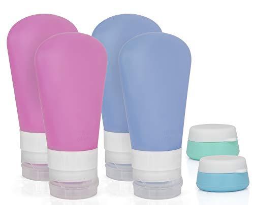 MyGadget Set 4 Flaconi da Viaggio + 2 Scatoline porta Crema in Silicone - Contenitori Vuoti Riutilizzabili per Cosmetici Liquidi per Bagaglio a Mano Aereo