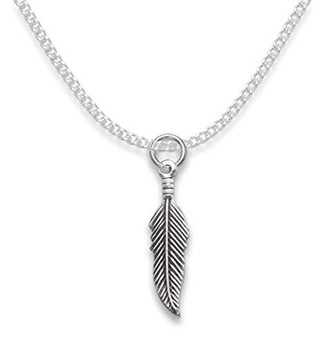 Heather Needham Sterling Silver Feather Necklace on 16' silver chain - Antique finish (darker colour) - Size: 20mm x 6mm Gift Boxed. 8043/16