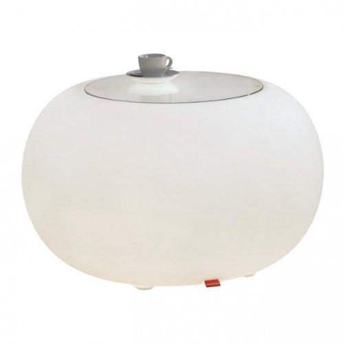 Moree Ltd. Bubble LED Accu Outdoor Beistelltisch, opal mit Farbwechselfunktion Ablagefläche Ø40cm