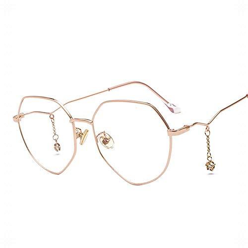 KDXBCAYKI Gafas poligonales de la moda para mujer, marco de miopía con cristales de cadena colgante de estrellas para eclipse solar (Color : Rose gold frame)