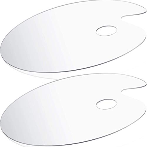 DUGATO Acrylic Paint Palette 2pcs 11.8 x 7.9 inches, Clear Oval-Shaped Non-Stick Acrylic Oil Paint Mixing Tray- Comfortable to Hold & Easy to Clean - for DIY Art Painting Plate