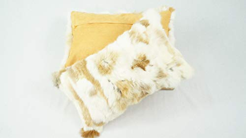 bokke Juego de 2 Fell Cojín Patchwork Rabbit auténtica Piel Natural, Color Natural Beige, 30x 50cm