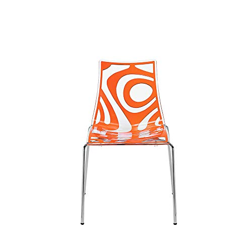 Set 2 Scab Design Wave chaise 4 Pieds orange-transparent