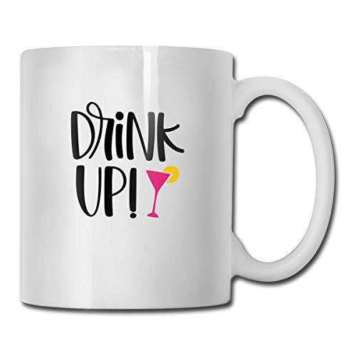 N\A Novedad Tazas de café Drink Up SVG Archivo Cortado Cerámica Té Blanco Taza de Leche 11 onzas