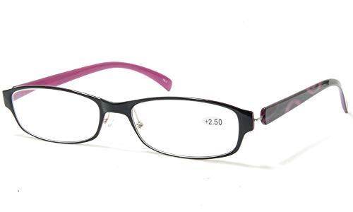 おしゃれ老眼鏡 超弾性 樹脂 軽量 リーディンググラス シニアグラス 非球面 パープル (+3.00)