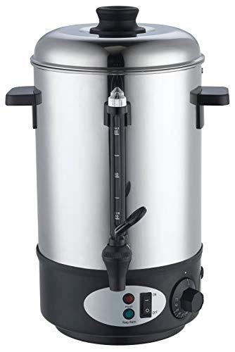 Slabo Glühweinbehälter mit einem Topf aus Edelstahl | 1800W | 8 Liter | 30-100 °C | Einkochautomaten | Kocher | Glühweintopf | Spender | Glühweinbehälter | Glühweinkessel - SILBERSCHWARZ