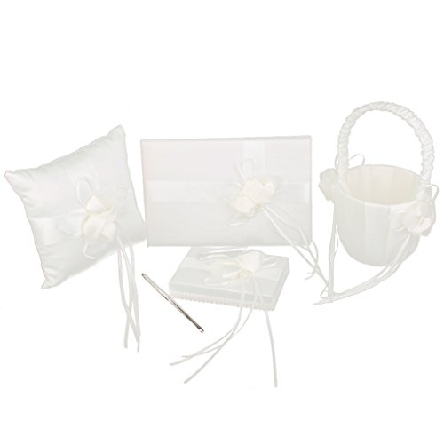 Faux Pearl Flower Wedding Party Guest Book Pen Ring Pillow Flower Basket Ivory