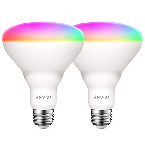 ANWIO Lampadina LED Smart Wifi Attacco E27,9W Equivalenti a 60W,806Lm,Forma BR30,Compatibile con Alexa,Echo and Google Assistant,Intelligente Dimmerabile,Controllo a Distanza da App,Pacco da 2 Pezzi