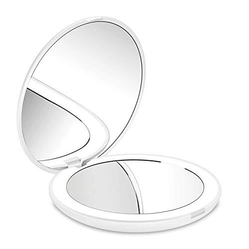 deweisn Compacto Espejo de Viaje, Espejo de Maquillaje Espejo de Bolsillo para Maquillaje con Luz Aumento1X y 10X Espejo Portátil con 12 LED Regalo para Mujer y Niña