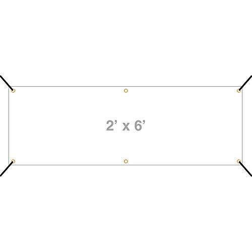 HALF PRICE BANNERS   Blank Vinyl Banner -Indoor/Outdoor 2X6 Foot -White   Includes Zip Ties   Easy Hang Sign-Made in USA