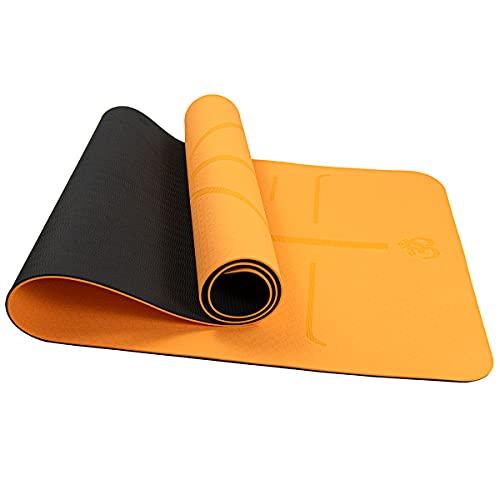 FLYONNO Esterilla de yoga antideslizante con líneas de orientación de 6 mm de TPE, con bolsa de transporte, correa de yoga, pilates, fitness, esterilla de fitness