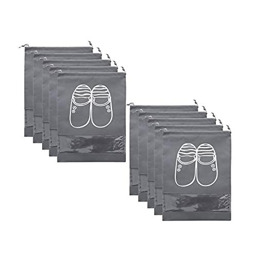 10 Bolsas de Zapatos de Viaje, Bolsa de Almacenamiento de Zapatos portátil Grande con cordón, Bolsa de Almacenamiento Que Ahorra Espacio con Costuras Transparentes, Adecuada para Viajes