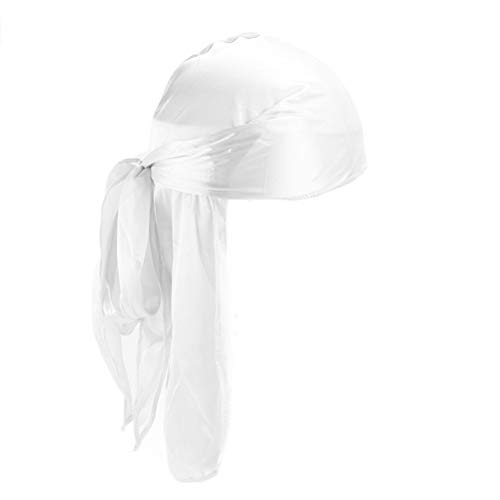 beauty YFJH Men Womens Silky Durag Headwraps Extra Long-Tail Wide Straps Pirate Cap Du-RAG for 360 Waves (White)