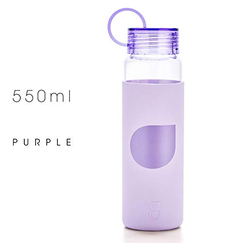 ZLIJUN C019 Anti-Fracture Leak-Proof Borosilicate Glass Hot and Cold Water Best 430ML/550ML Silicone Cup Set Juice Container School Home Office Travel Sports Yoga Gym Bottle,Purple,550ml