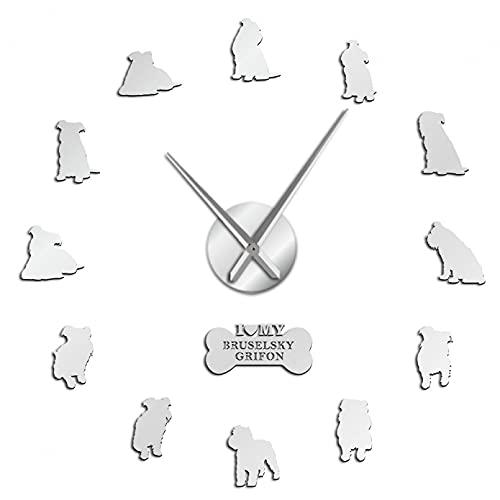 YQMJLF Reloj Pared DIY 3D Grande Perro de Juguete DIY Reloj de Pared Bruselas Griffon pequeño brabancon Griffon 3D Grandes Relojes de Etiqueta de Pared Salon Decor casa Navidad Regalo Plata