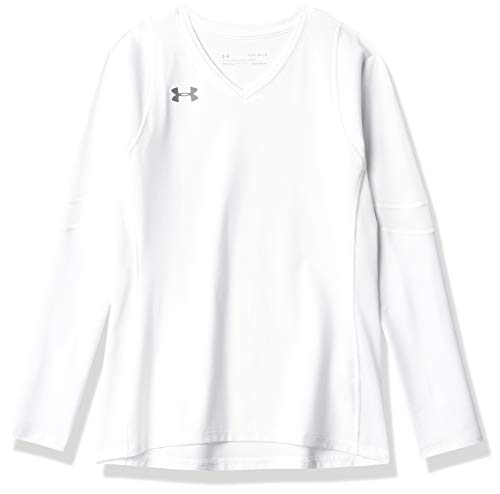 Under Armour Girls' Volleyball Powerhouse Long-Sleeve Jersey , White (100)/Graphite, Youth Small