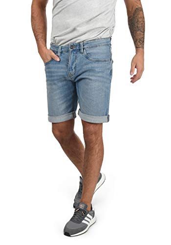 Indicode Quentin Herren Jeans Shorts Kurze Denim Hose Mit Destroyed-Optik Aus Stretch-Material Regular Fit, Größe:M, Farbe:Blue Wash (1014)