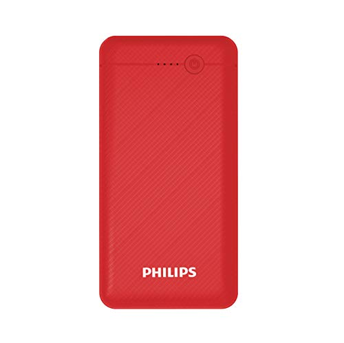 Philips DLP1710CR Fast Charging 10W Power Bank 10000mAh with Lithium Polymer Battery Red (Dual USB Output Port, with Micro USB and Type c Input)