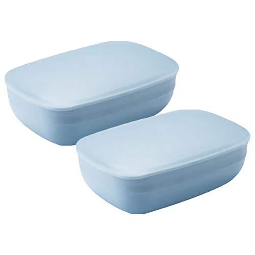 OUNONA Seifendose Seifenschalen Box mit Abdeckung f¨¹r Badezimmer Reise 2 St¨¹ck (Blau)