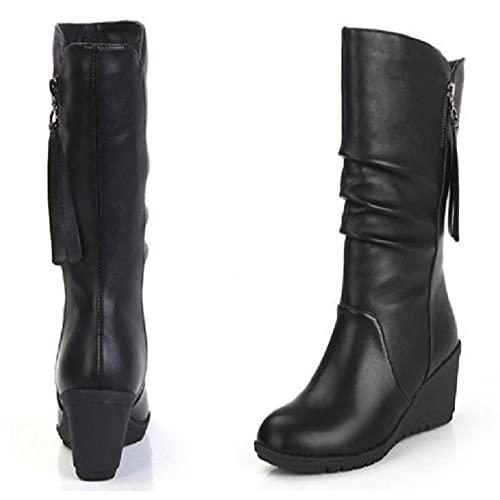 HUDUO Botas De Mujer Botas De Nieve Cálidas Zapatos Casuales Antideslizantes De Tacón Alto Botas Plisadas De Cuero Moda De Otoño E Invierno Zapatos Occidentales De Punta Redonda,Black1-42