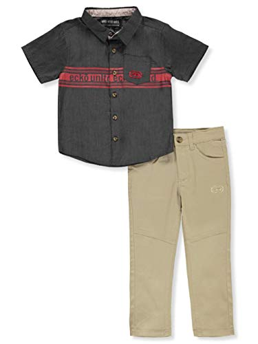 Ecko Unltd. Little Boys' Logo Stripe 2-Piece Joggers Set Outfit - Gray/Khaki, 6