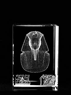 Asfour Crystal 1159-70-03 2 L x 2. 75 H x 2 W inch Crystal Laser-Engraved King Tut Ancient Egypt Laser-Cut