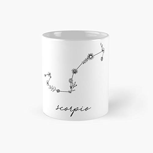 Scorpio Zodiac Wildflower Constellation Classic Mug - Unique Gift Ideas For Her From Daughter Or Son Cool Novelty Cups 11 Oz.